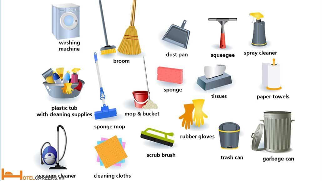 Các đồ dùng phục vụ công việc dọn phòng