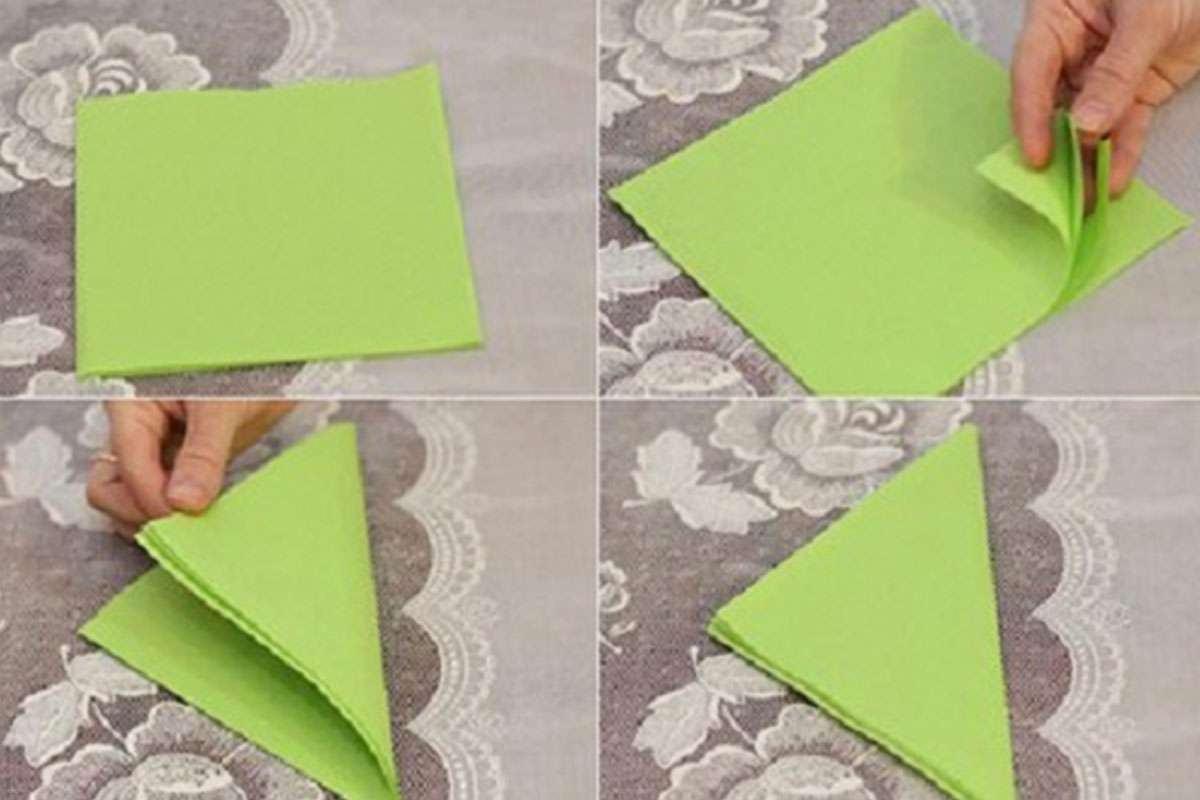 Cách xếp khăn ăn hình cánh buồm. Hình 1