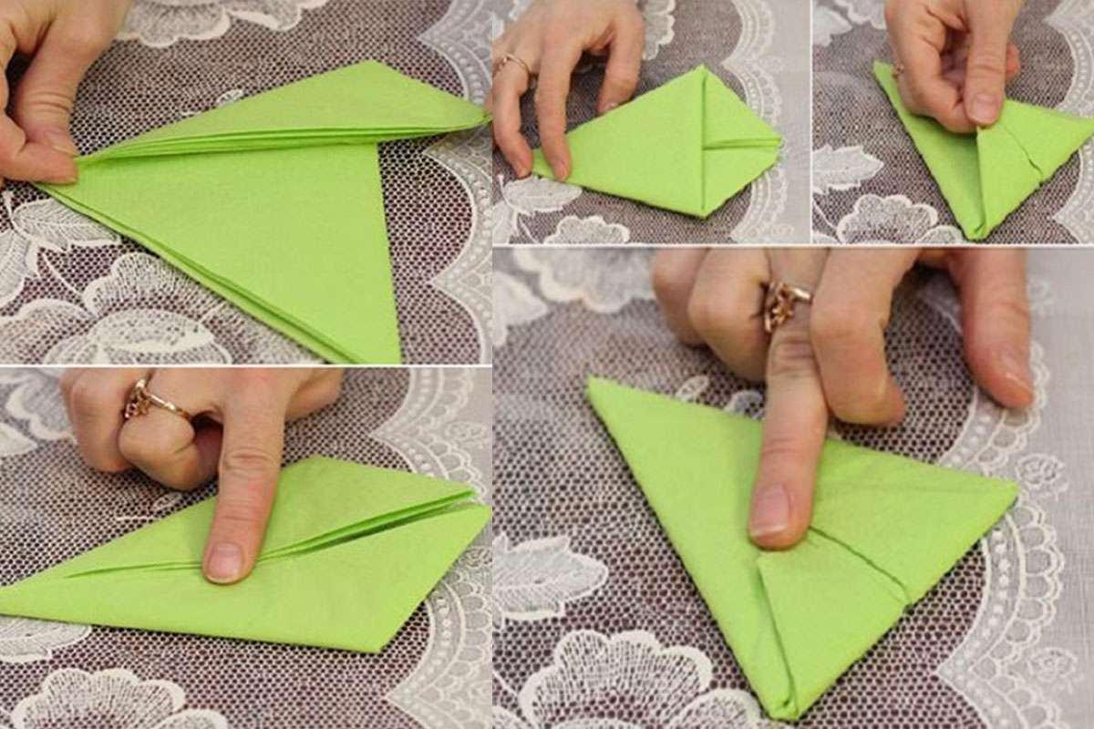 Cách xếp khăn ăn hình cánh buồm. Hình 2