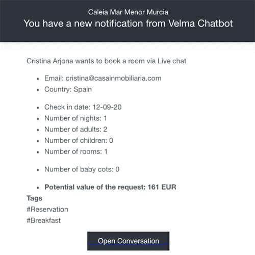 Mẫu thông báo của Quicktext Velma Chatbot