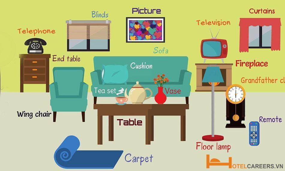 Từ vựng về đồ dùng và thiết bị trong phòng khách
