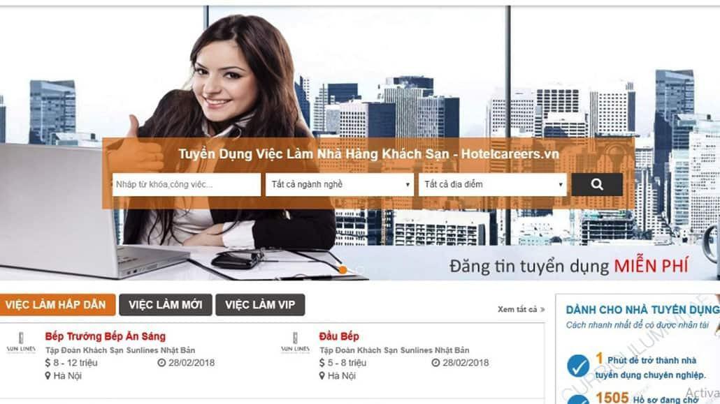 Giao diện website tuyển dụng khách sạn Hotelcareers.vn